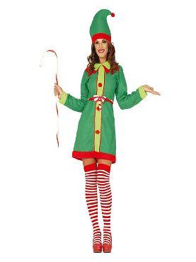 disfraz de elfa verde divertida mujer