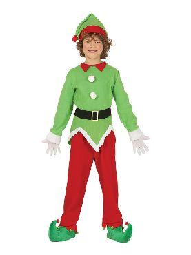 disfraz de elfo verde y rojo barato infantil
