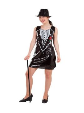 disfraz de esmoquin lentejuelas mujer