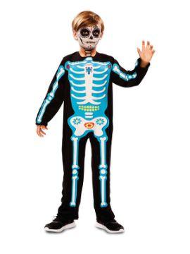 disfraz de esqueleto dia de los muertos azul niño