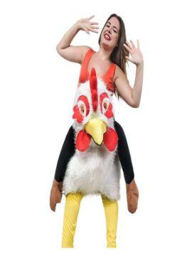 disfraz de gallina loca blanca a hombros mujer