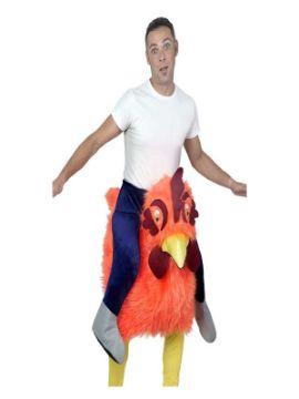 disfraz de gallo loco naranja a hombros hombre