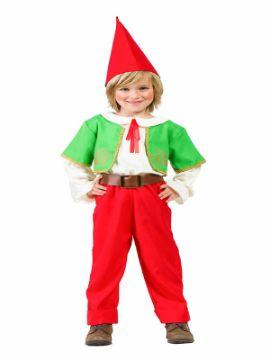 disfraz de gnomo verde y rojo niño