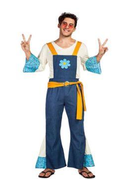 disfraz de hippie con flor para hombre