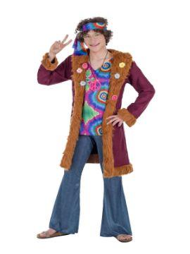 disfraz de hippie lujo con abrigo hombre