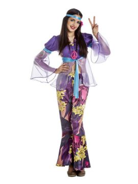 disfraz de hippie morada mujer