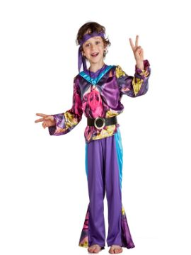 disfraz de hippie morado niño