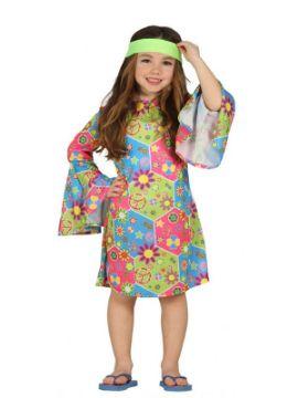 disfraz de hippie multicolor niña