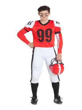 disfraz de jugador de rugby rojo hombre