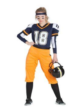 disfraz de jugadora de rugby azul mujer