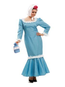 disfraz de madrileña azul mujer