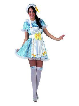 disfraz de muñeca azul con topos mujer