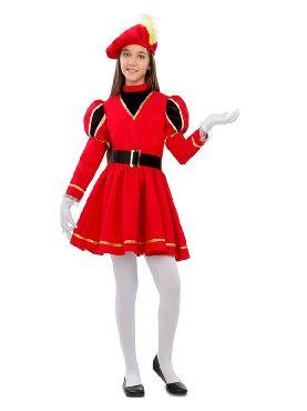 disfraz de paje real roja para niña