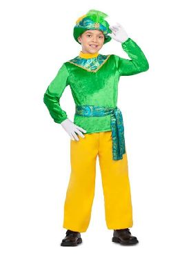 disfraz de paje real verde y amarillo niño