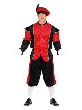 disfraz de paje rojo y negro para hombre
