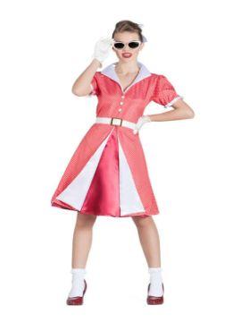 disfraz de pin up fucxia con lunares mujer