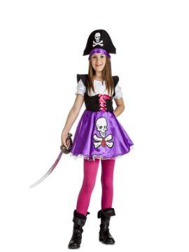 disfraz de pirata lila calavera niña