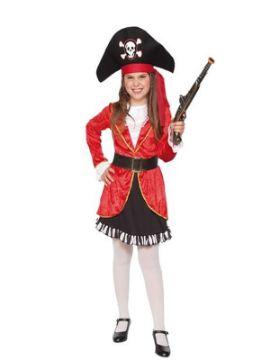 disfraz de pirata rojo para niña