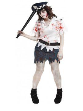 disfraz de policia zombie mujer