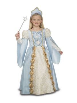 disfraz de reina azul medieval niña