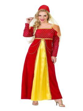 disfraz de reina medieval roja y dorada mujer