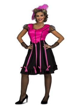 disfraz de señorita rosa de salon para mujer