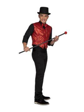 disfraz de showman con chaleco rojo hombre
