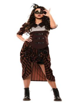 disfraz de steampunk a rayas para mujer