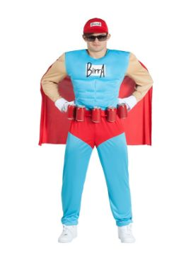 disfraz de superheroe de la birra musculoso hombre