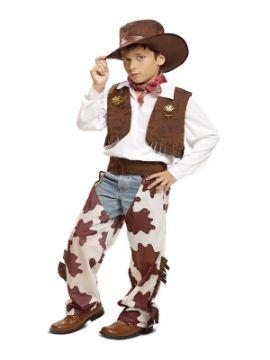 disfraz de vaquero marron y blanco niño