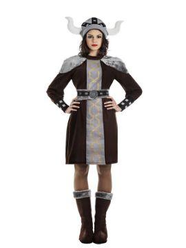 disfraz de vikinga marron para mujer