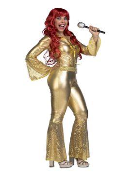 disfraz disco dorado para mujer