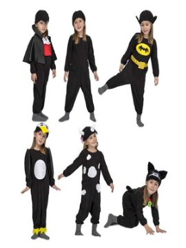 disfraz multiple negro 6 en 1 para niños
