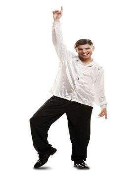 disfraz o camisa disco blanca brillo para adulto