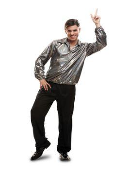 disfraz o camisa disco plateada para hombre