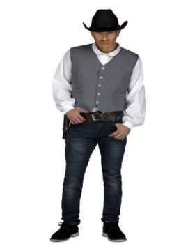 disfraz o chaleco gris de vaquero para hombre