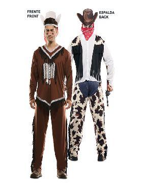 disfraz pareja de indio y vaquero hombre