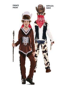 disfraz pareja de indio y vaquero niño