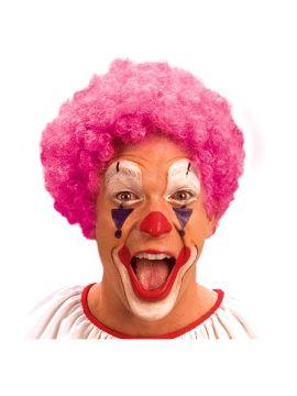 peluca de payaso rosa rizada