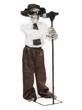 esqueleto cantante de blues con movimiento y sonido de 100 cm