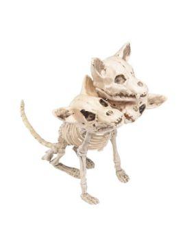 esqueleto de perro con 3 cabezas 30x34 cm