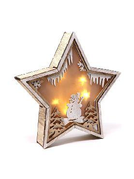 estrella madera led 24 cms