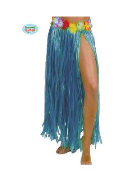 falda de hawaiana flores 75 cms azul