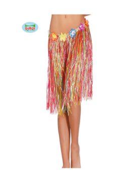 falda hawaiana flores 55 cms multicolor