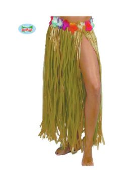 falda hawaiana flores 75 cms amarillo