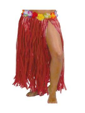 falda hawaiana flores 75 cms rojo
