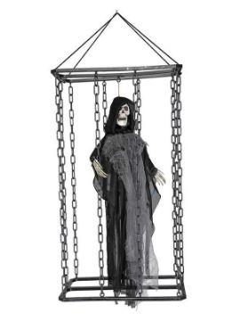fantasma gris en jaula con luz 70x33 cm