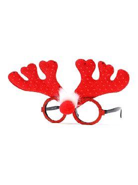 gafas con cuernos reno rojo