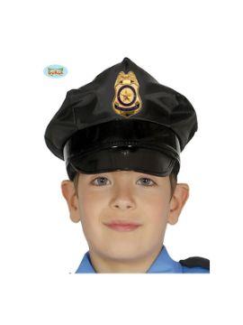 gorra de policia negra infantil