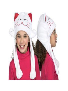 gorrito de gatito blanco
